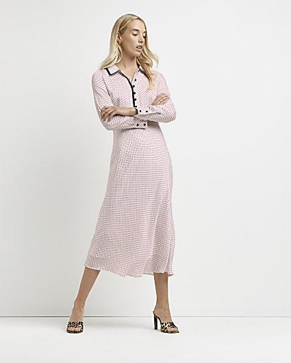 White polka dot print midi dress