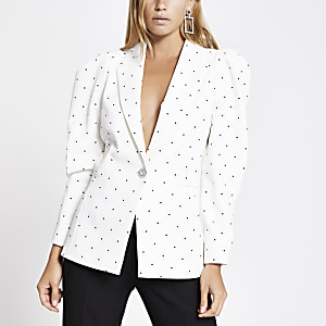 White polka dot puff sleeve blazer