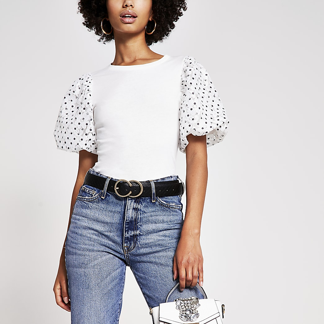 White Polka Dot Puff Sleeve T Shirt
