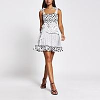 White polka dot shirred mini beach dress
