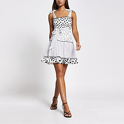 White polka dot shirred mini beach dress