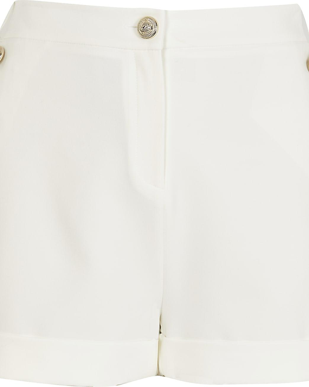 White Ponte Button Detail Short