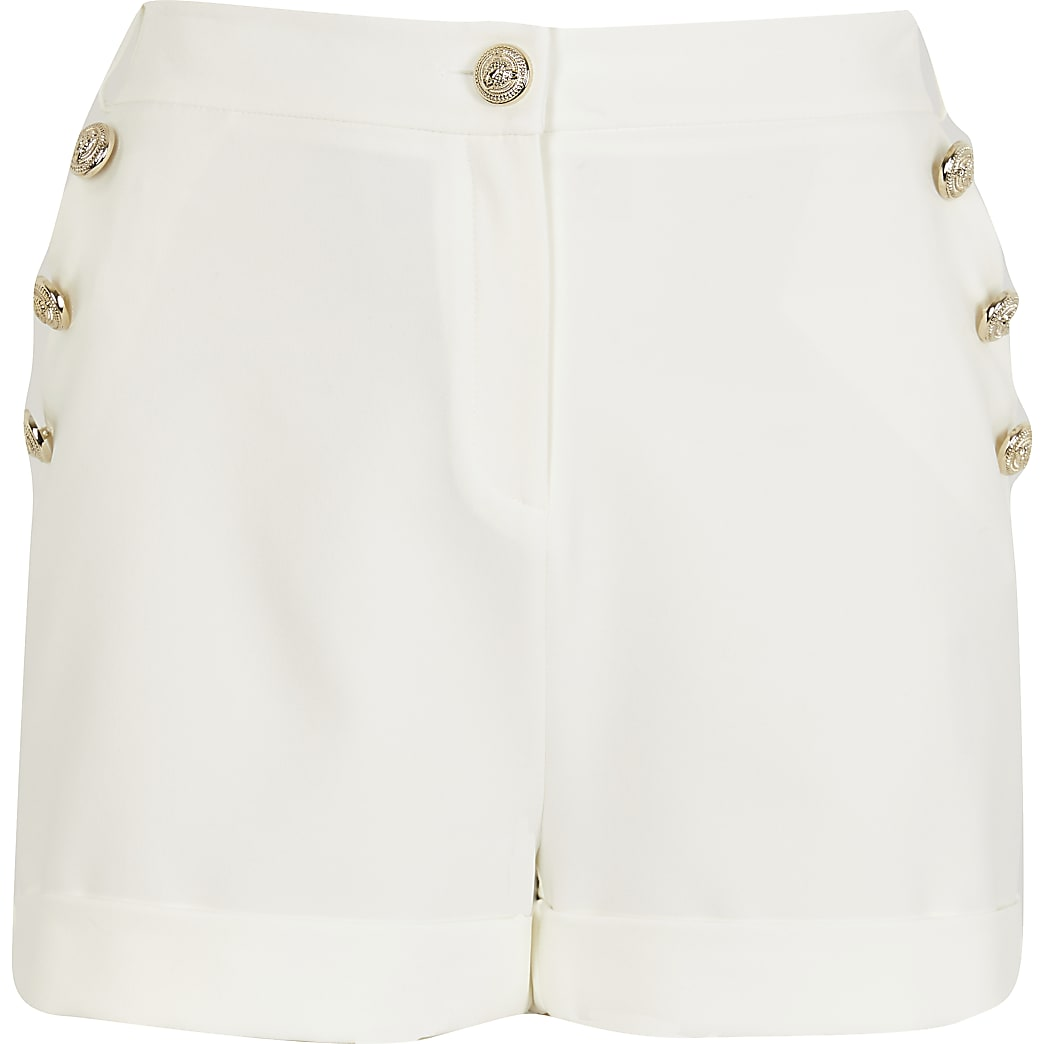 White Ponte Button Detail Short