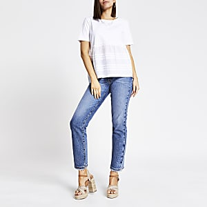 Gesmoktes Popeline-T-Shirt in Weiß
