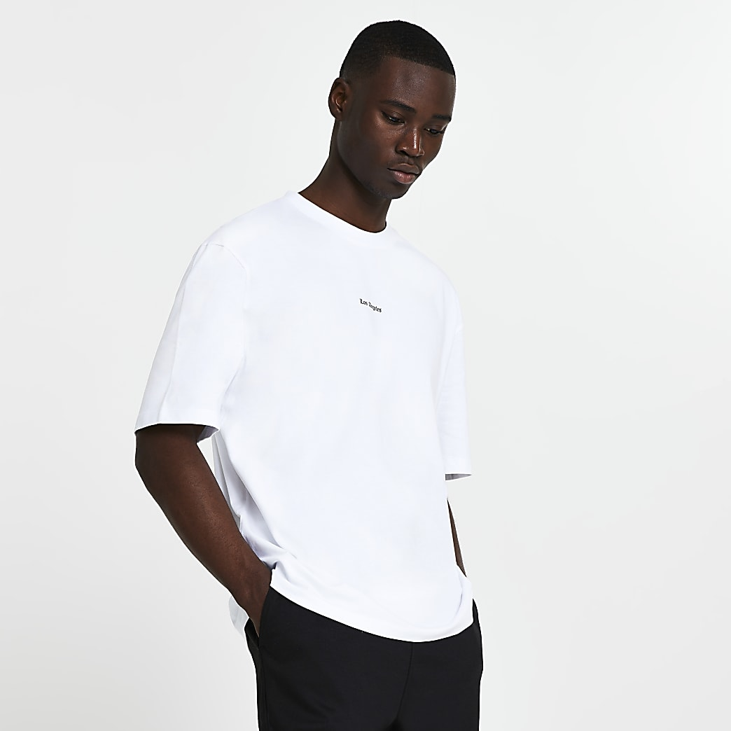 White premium 'Los Angeles' oversized t-shirt