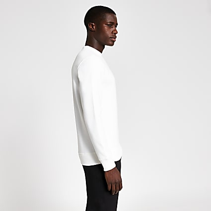 White premium slim fit sweatshirt