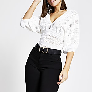 White pretty stitch puff sleeve top
