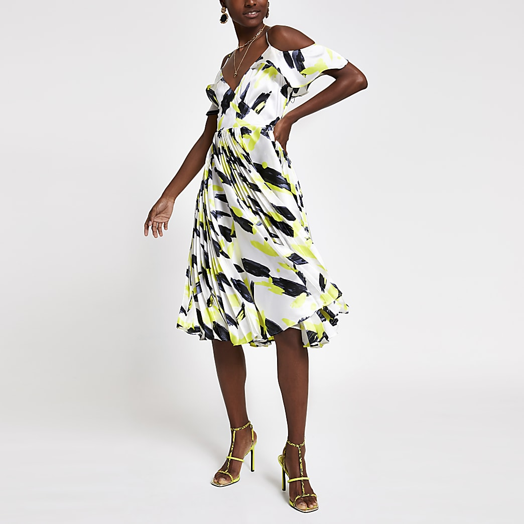 White print cold shoulder pleated swing dress