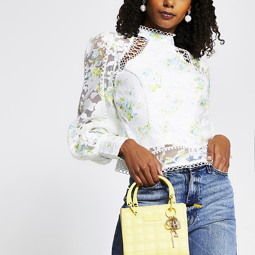 White Print Long Sleeve Peplum Trim Top