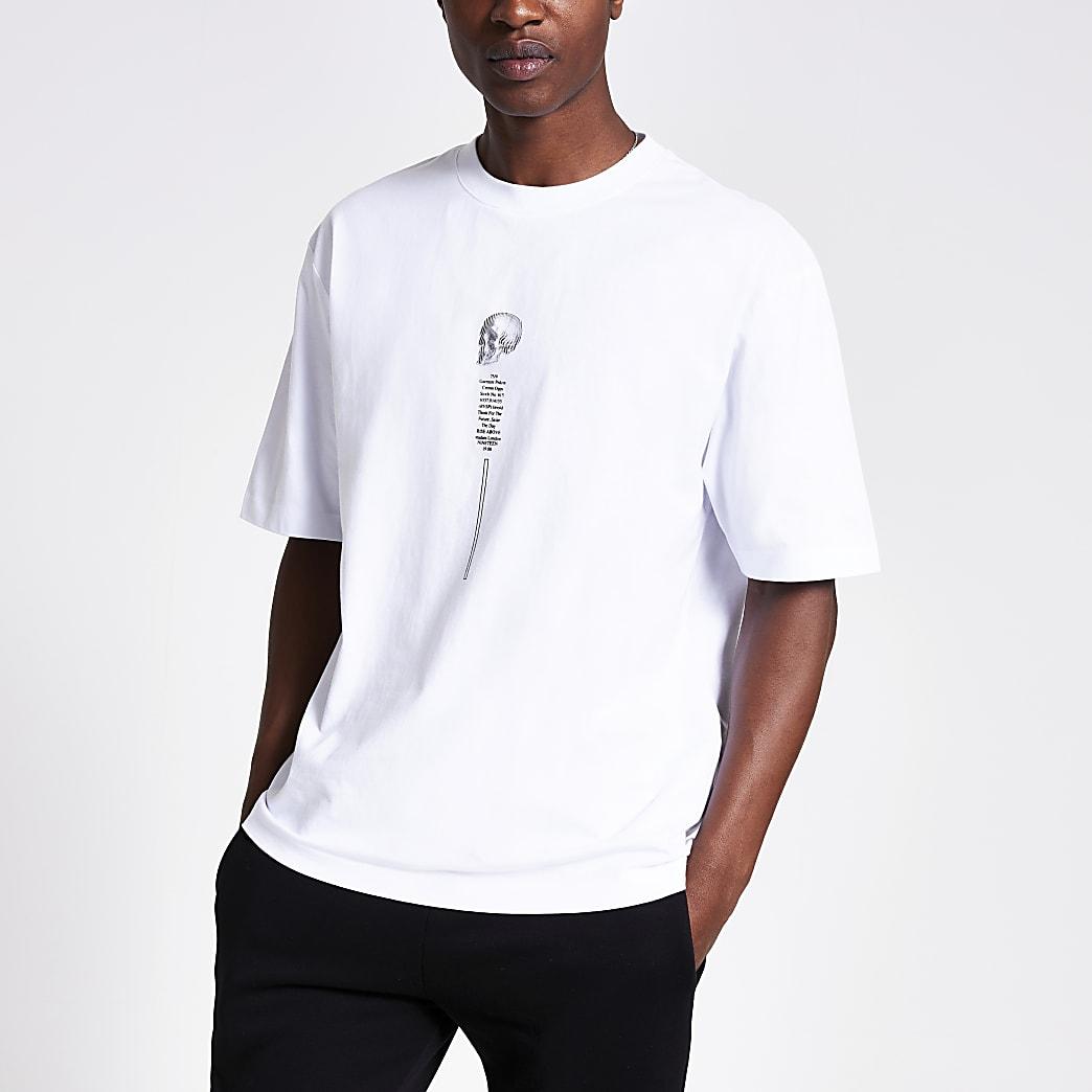 Wit boxy-fit T-shirt met print