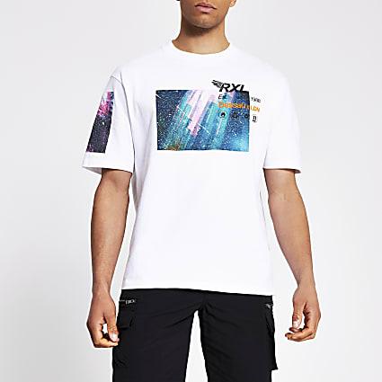 White printed boxy fit T-shirt