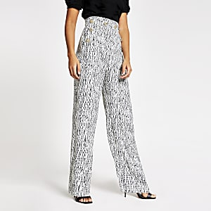 White printed button front wide leg trousers