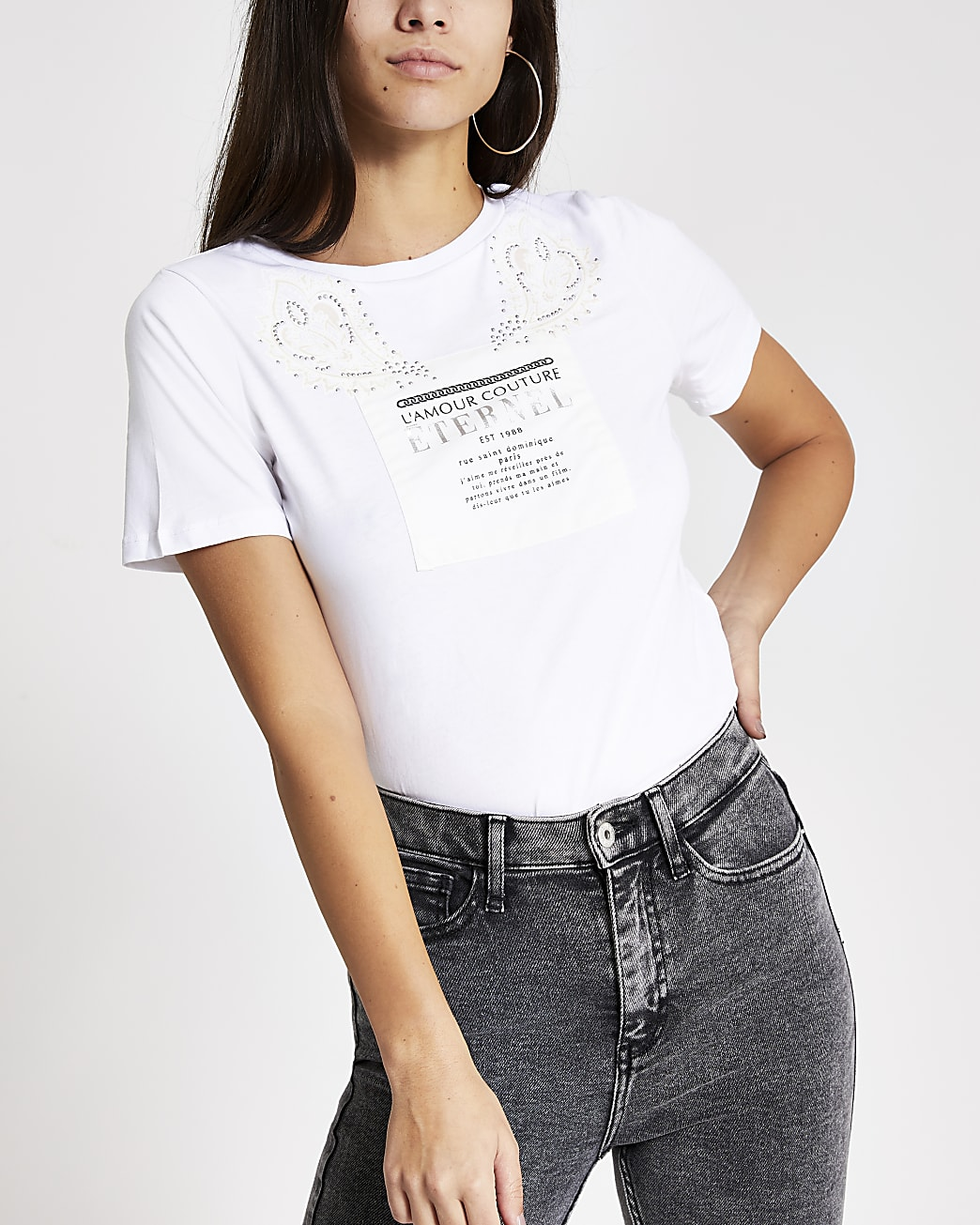 White printed diamante boyfriend T-shirt