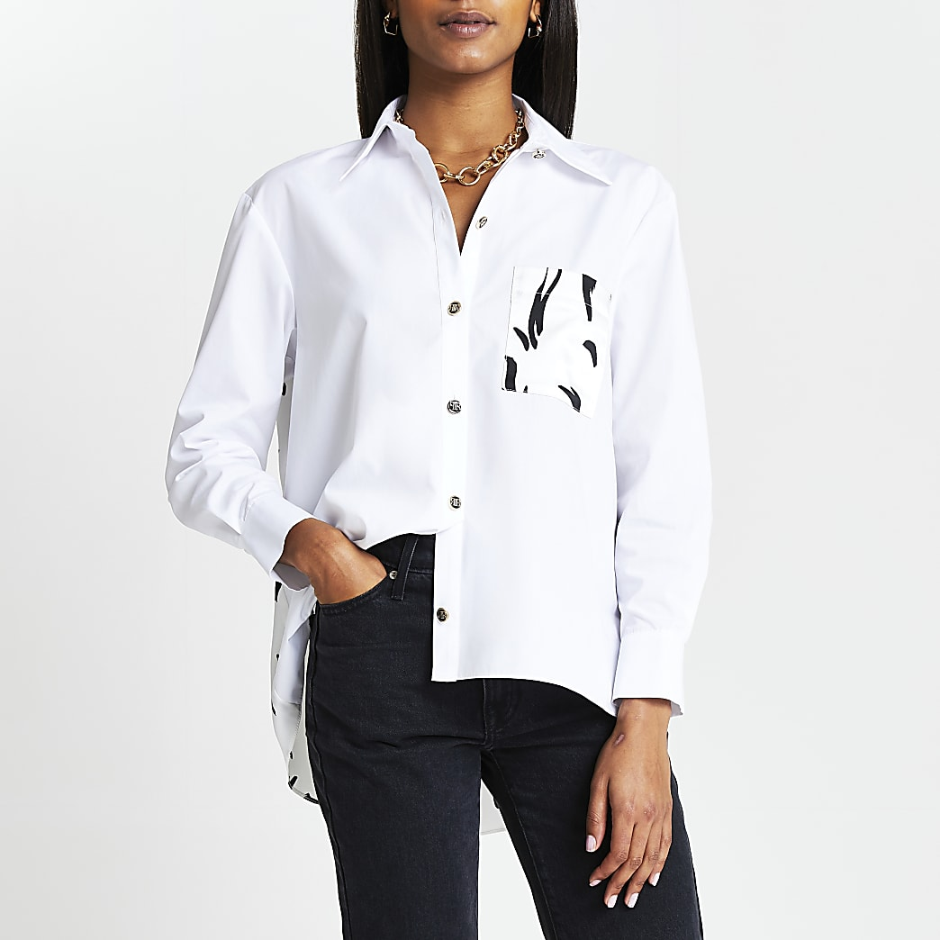 White printed long sleeve poplin shirt