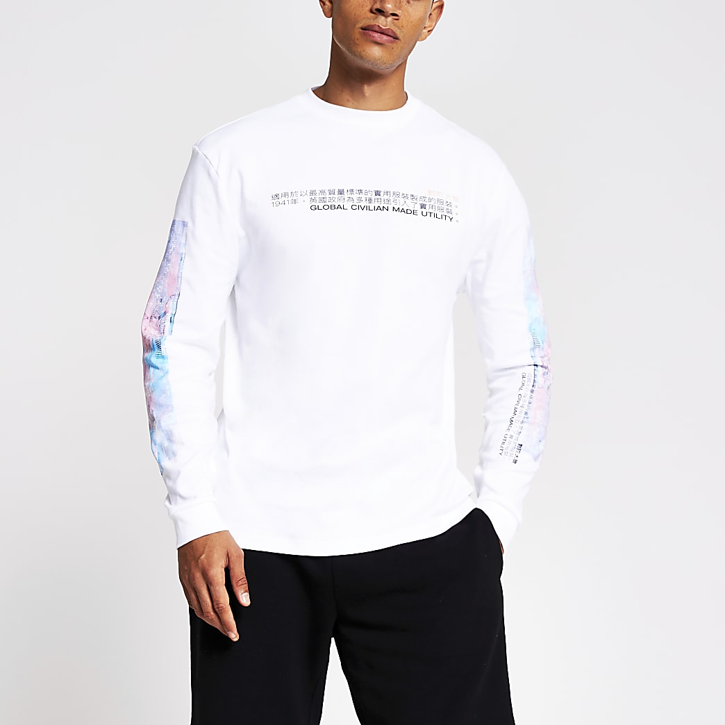 White printed long sleeve regular fit T-shirt