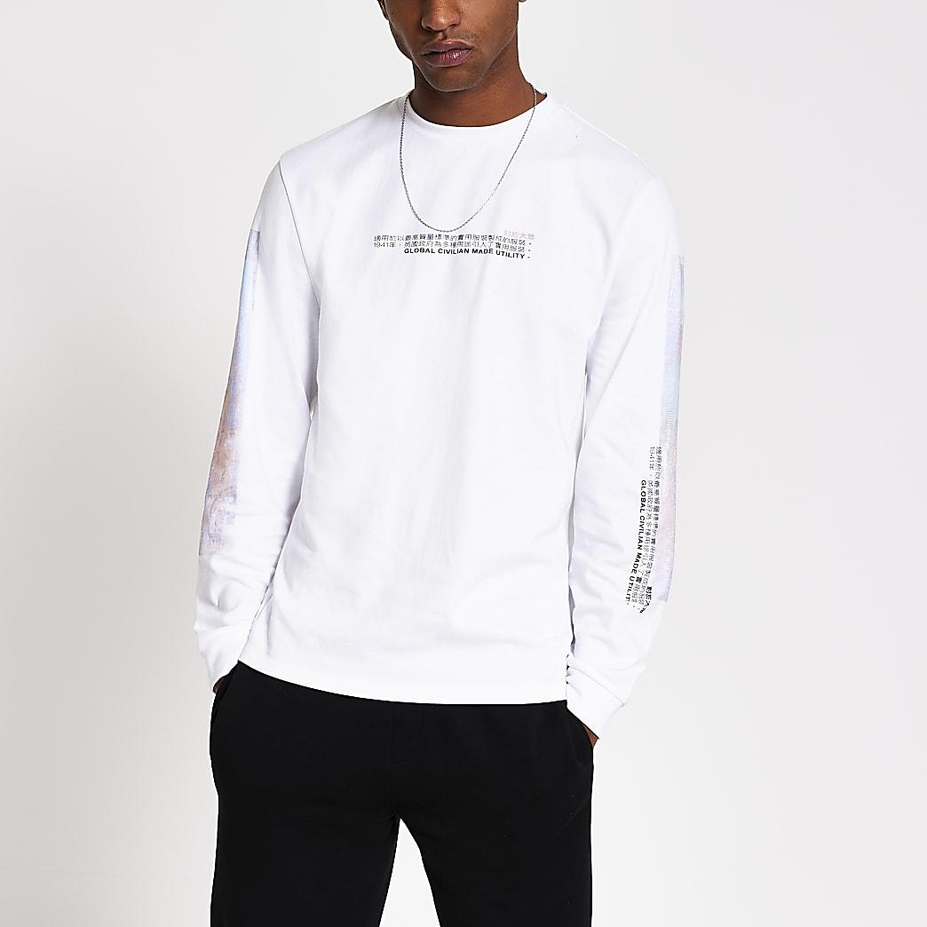 White printed long sleeve T-shirt