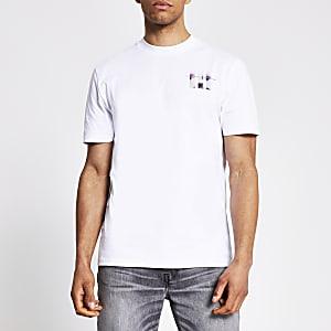 Wit slim-fit T-shirt met print en korte mouwen