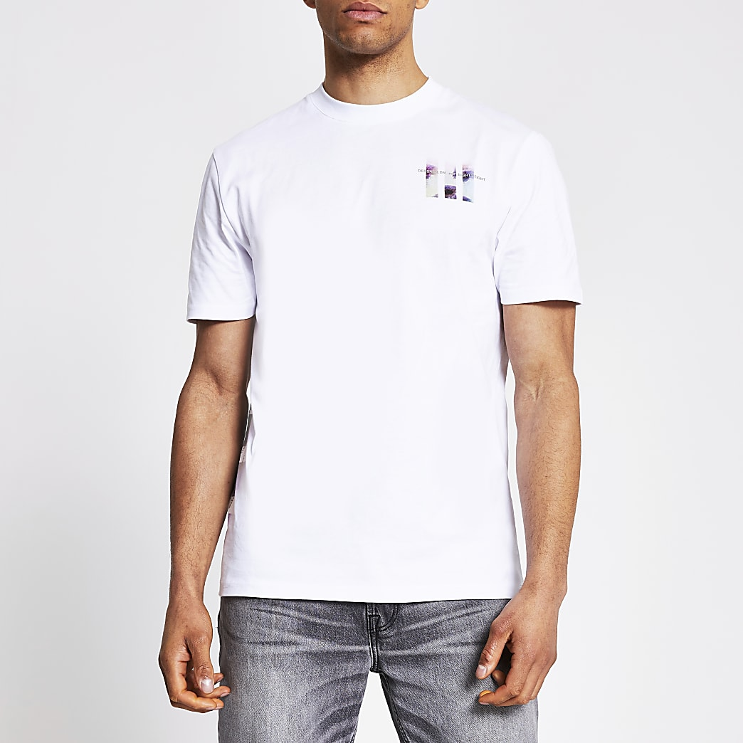 White printed short sleeve slim fit T-shirt