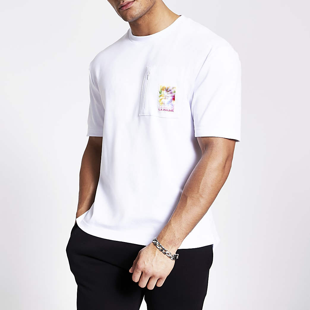 White printed zip chest pocket T-shirt