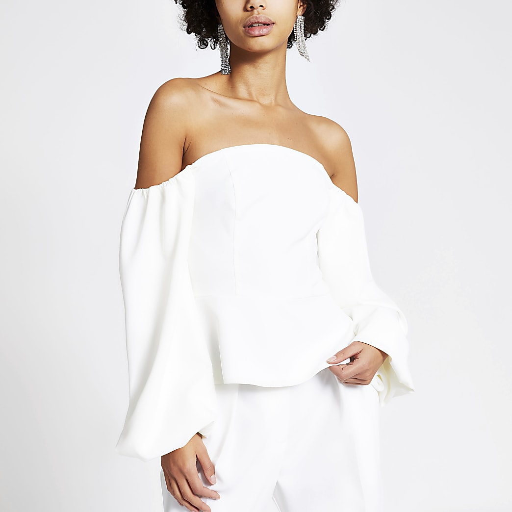 White puff sleeve bardot cropped top