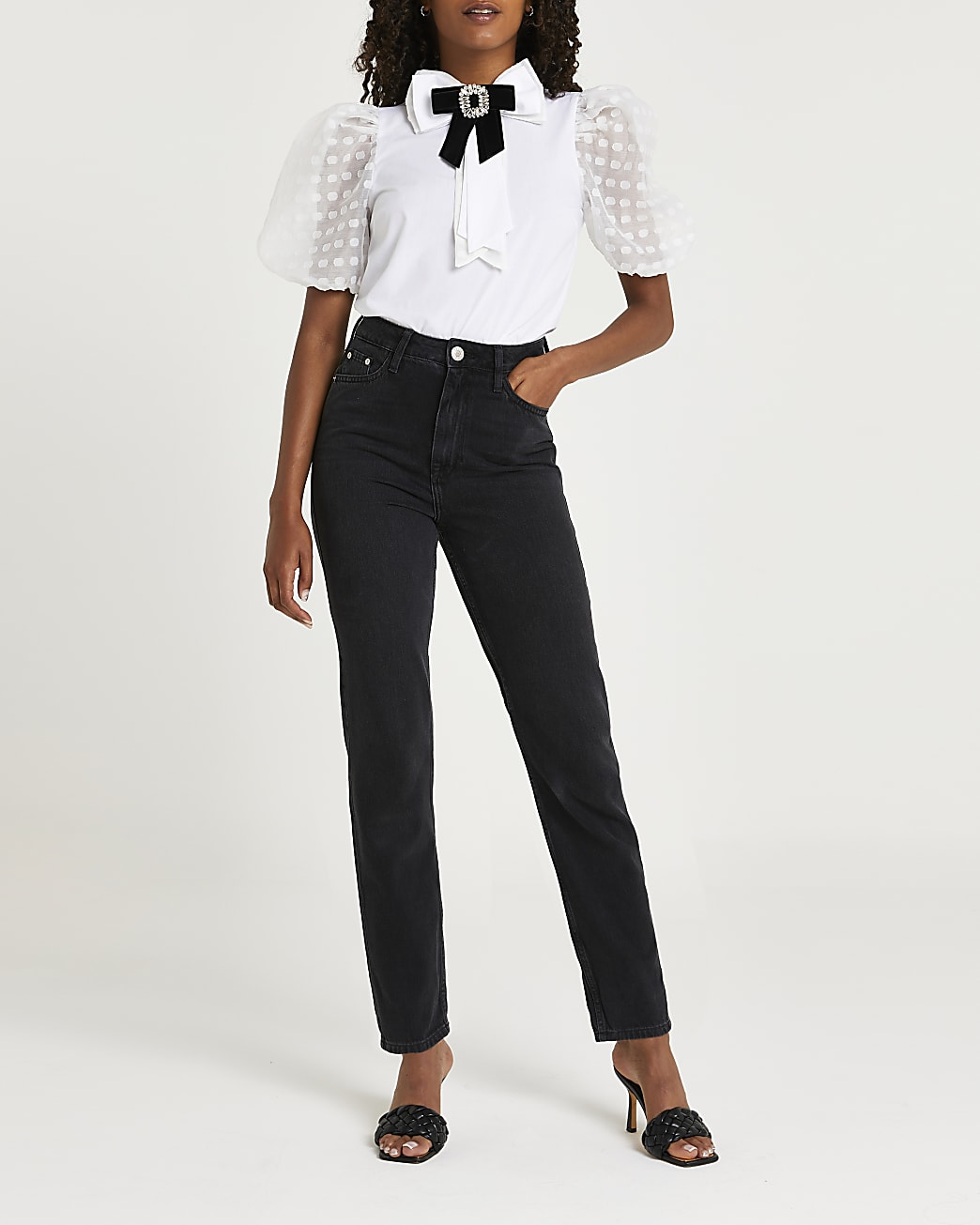 White puff sleeve bow blouse top