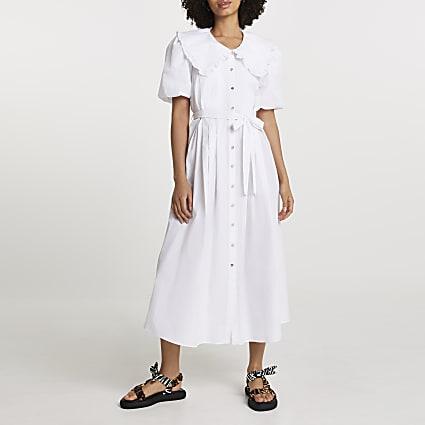 White puff sleeve collar poplin midi dress