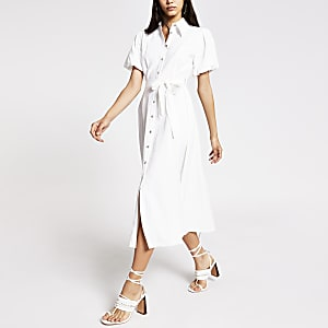 White puff sleeve midi shirt dress