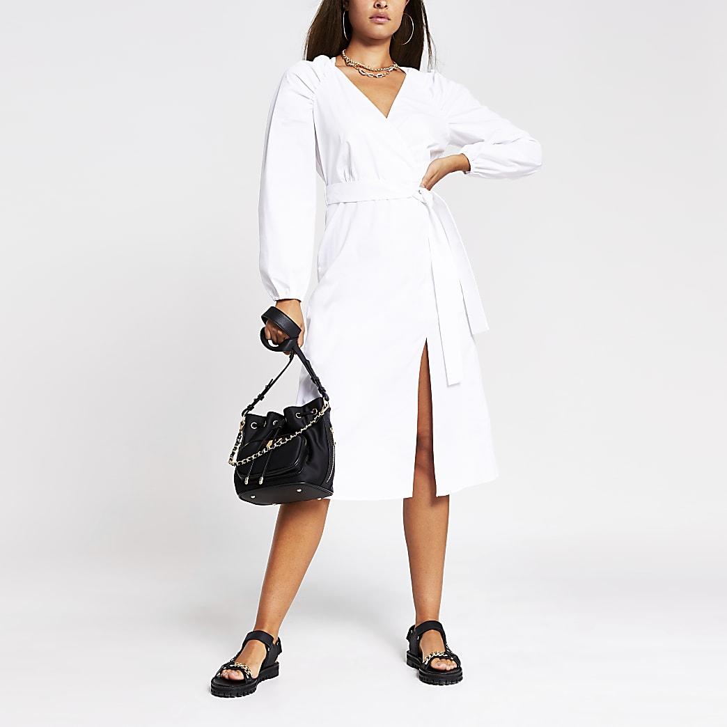 White puff sleeve midi wrap dress
