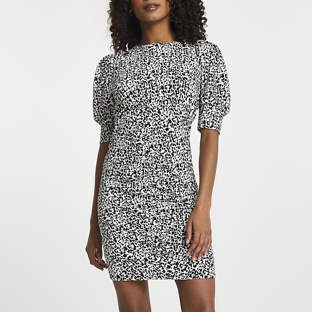 White puff sleeve spot ruched mini dress