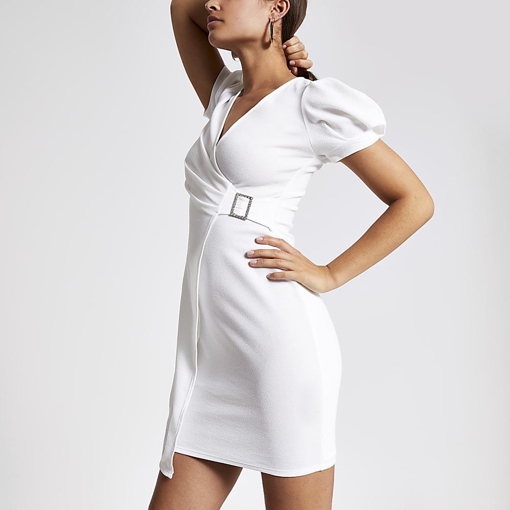 White puff sleeve wrap dress