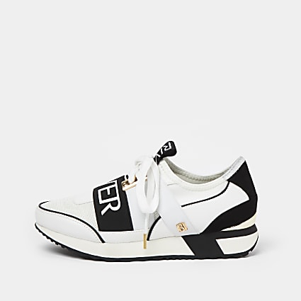 White pull on runner trainers