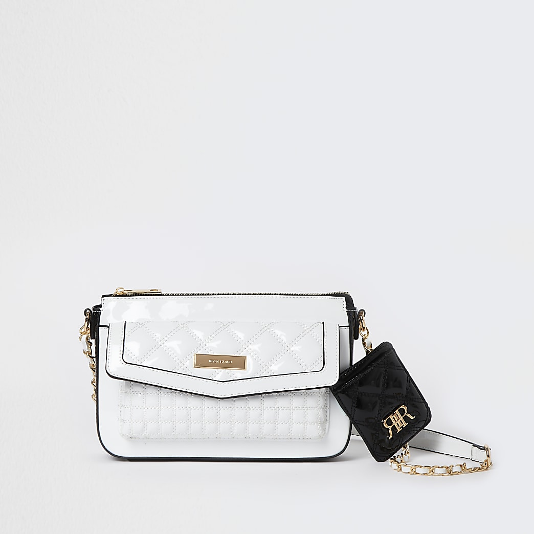 White quilted cross body bag