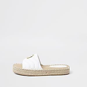 Sandales espadrilles RI matelassées blanches