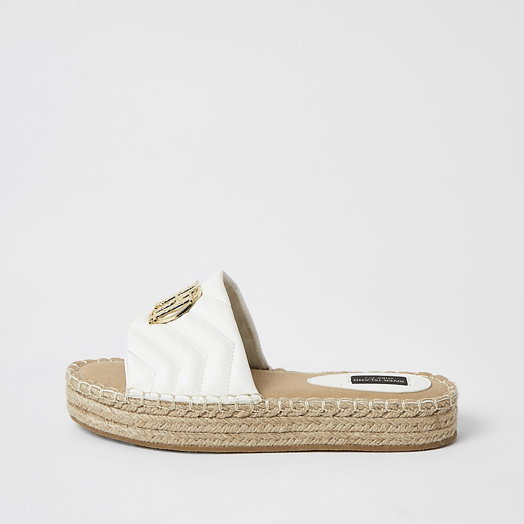 White quilted RI wide fit espadrille sandals