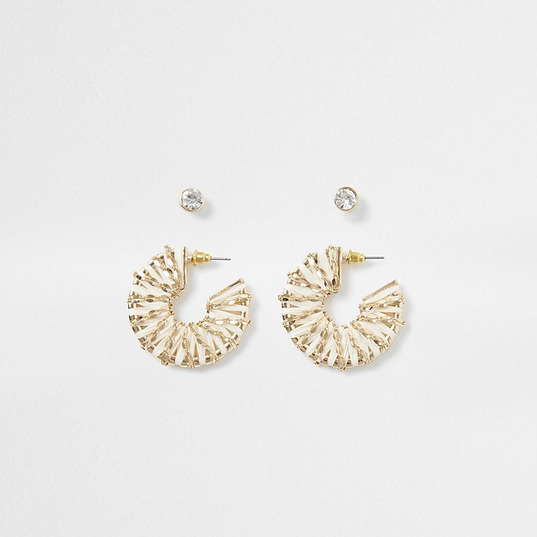 White raffia and chain hoop earring pack