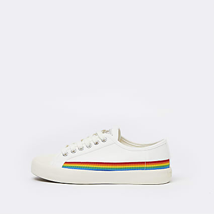 White rainbow lace up ankle trainers