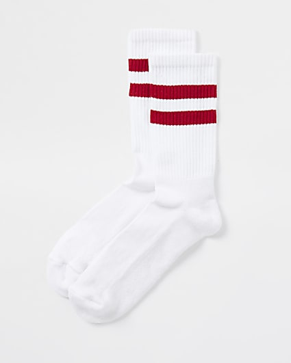 White red striped socks 1 pair