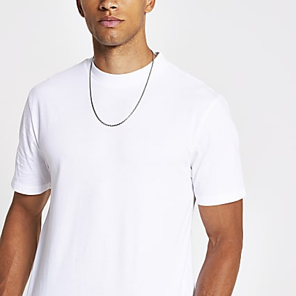 White regular fit crew neck t-shirt