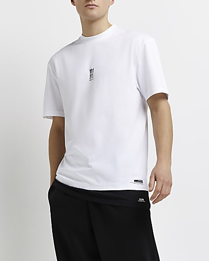 White regular fit double layer t-shirt