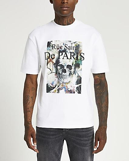 White regular fit graphic skull print t-shirt