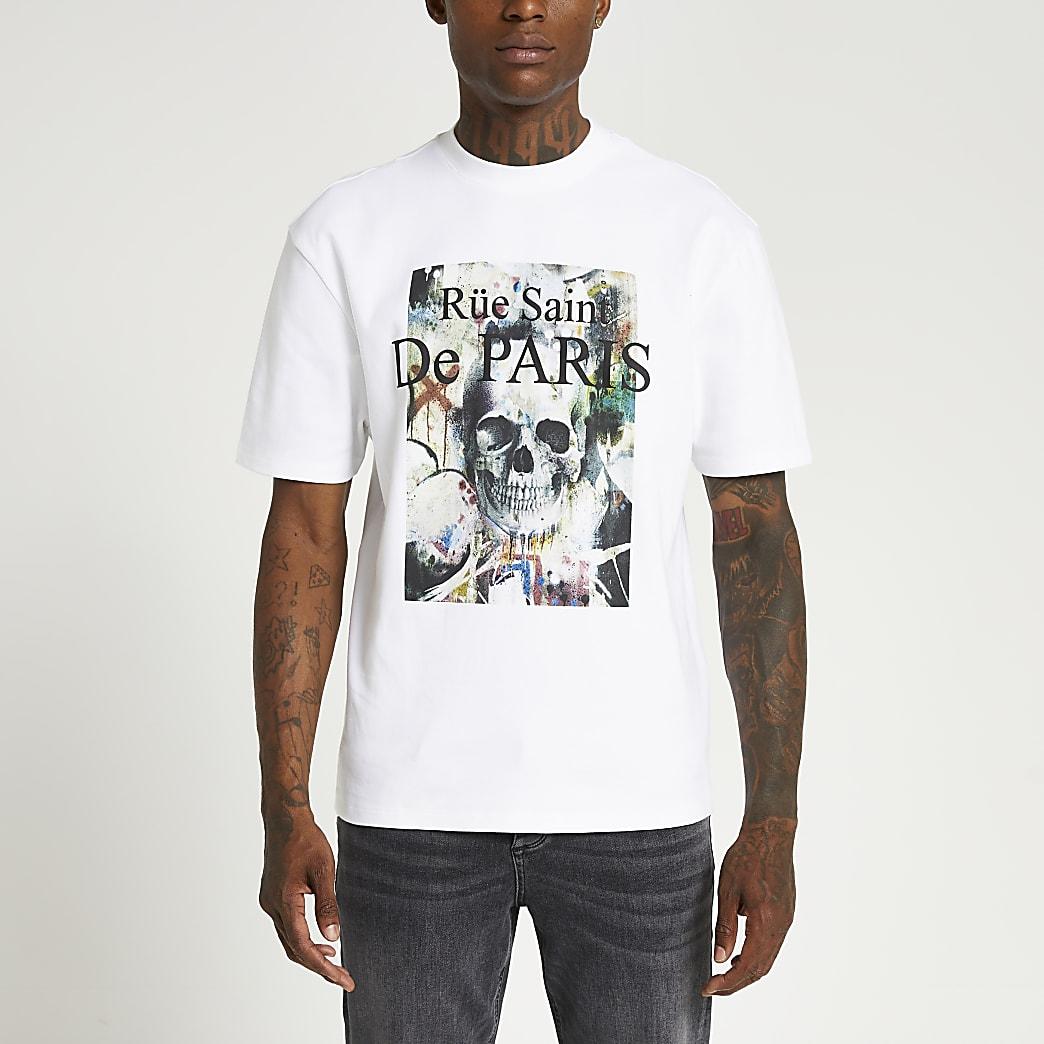 White regular fit graphic t-shirt
