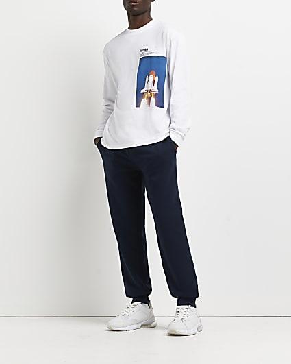 White regular fit long sleeve graphic t-shirt