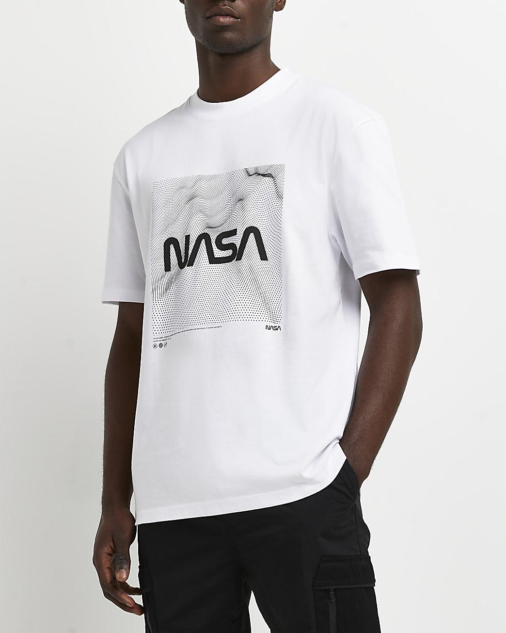 White regular fit NASA graphic t-shirt