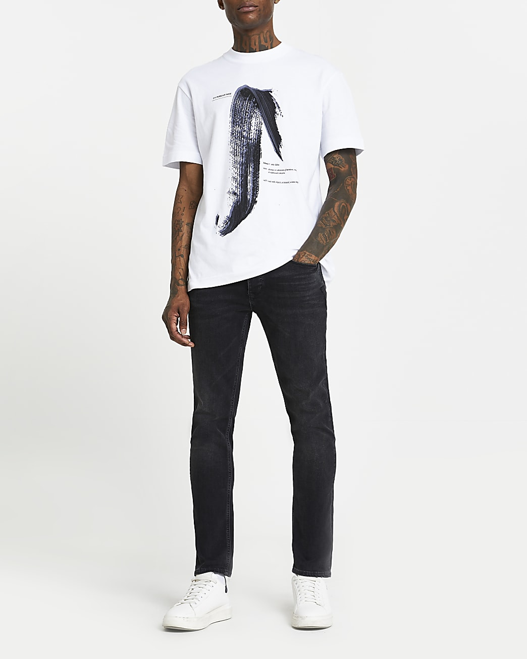 White regular fit paint stroke print t-shirt