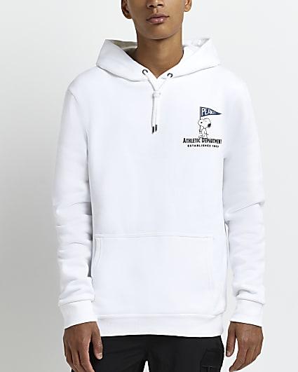 White regular fit Peanuts printed hoodie