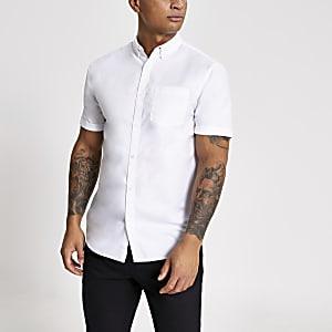 Wit regular-fit Oxford overhemd met korte mouwen