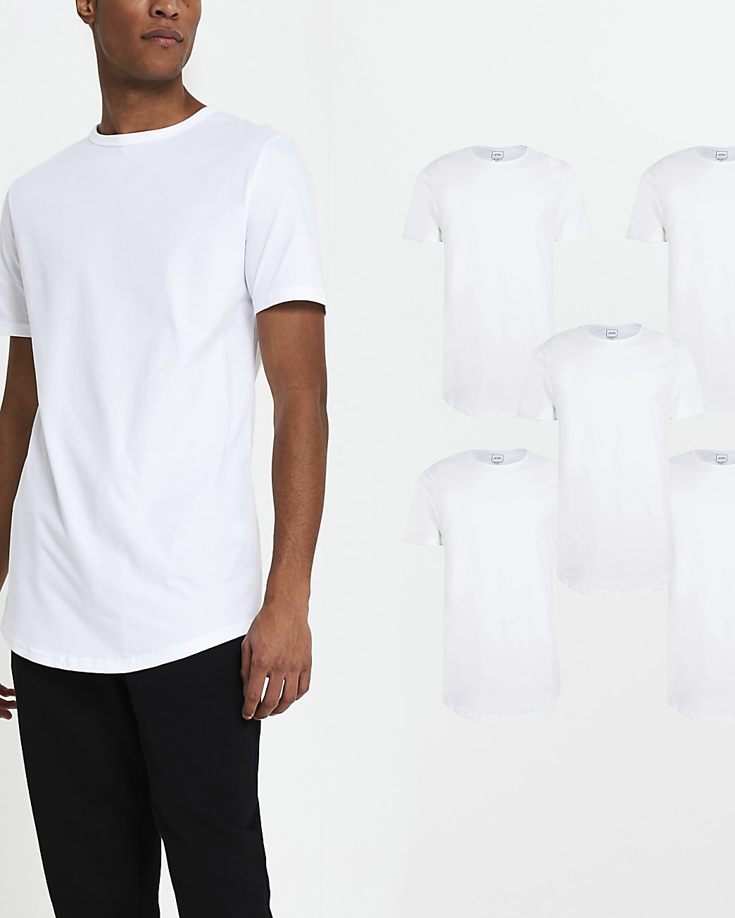 White regular fit t-shirts 5 pack