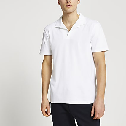 White revere short sleeve polo shirt