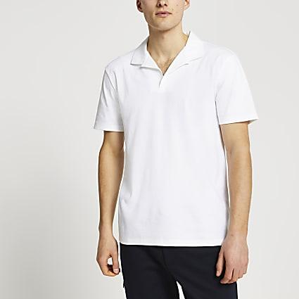 White revere slim fit short sleeve polo shirt