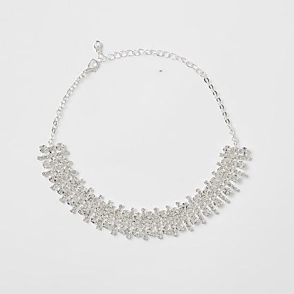 White rhinestone statement collar